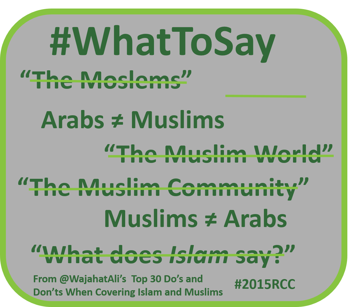 What to say about muslims wajahatali rcc conference
